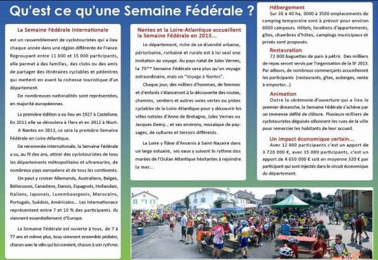 Description d'une Semaine Fédérale de Cyclotourisme