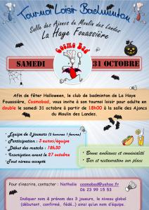 Tournoi Badminton La Haye Fouassière (31 octobre  2015)
