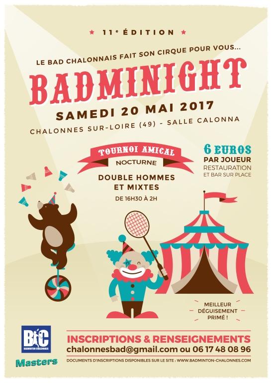11ème Badminight Chalonnes - Affiche