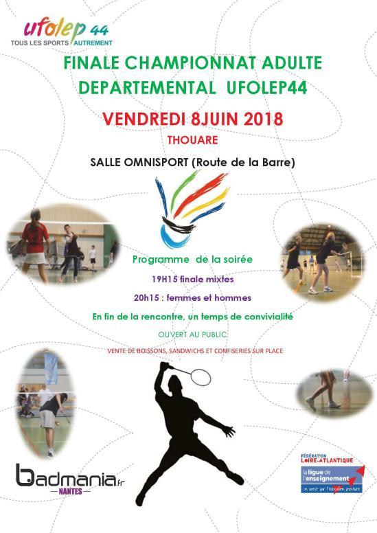 Flyer finale championnat adulte badminton 2018