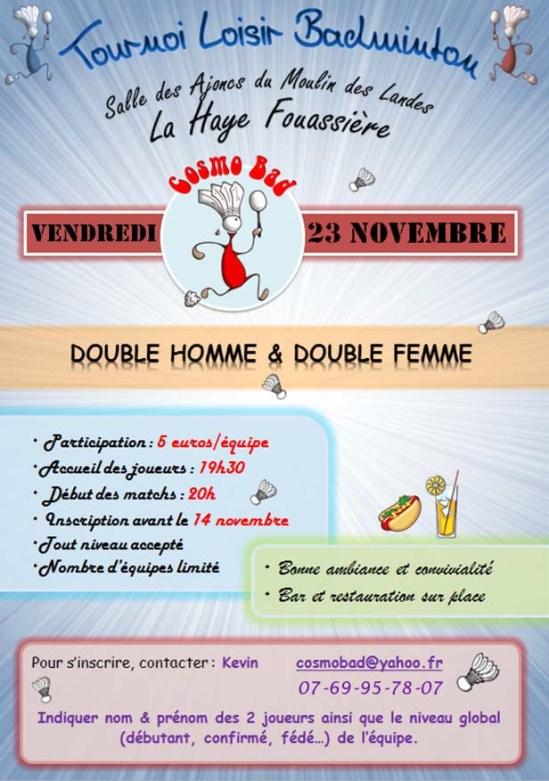Tournoi Cosmobad 23 novembre 2018 La Haye Fouassière